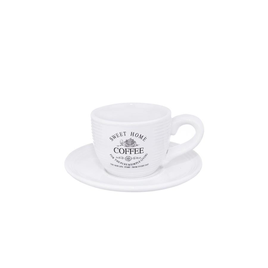 Becher ker. + Saucer SWEET HOME O0063